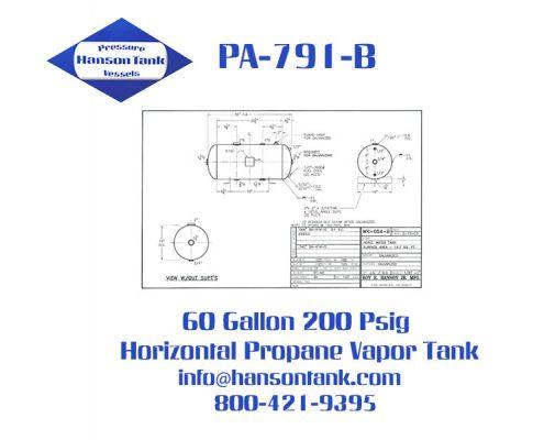 PA-791-B 60 gallon horizontal propane vapor tank