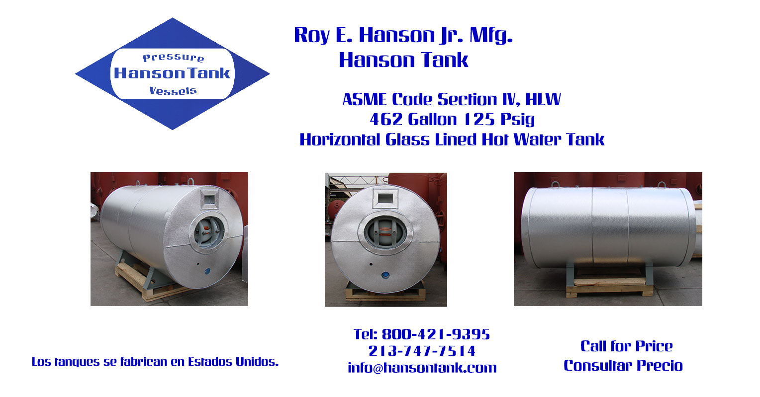 WG-993-B 462 Gallon Horizontal Hot Water Tank