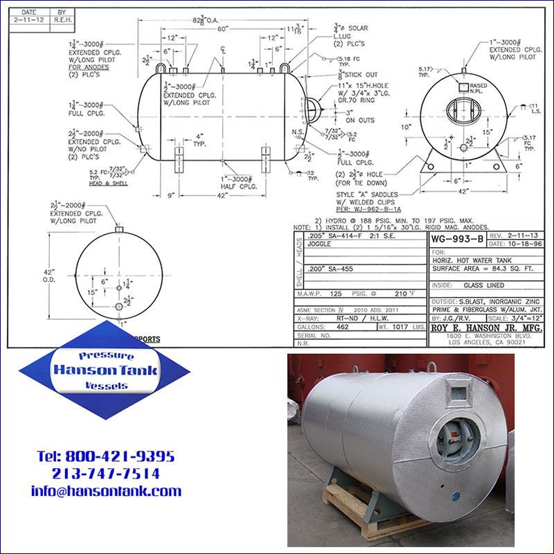 WG-993-B 462 gallon horizontal glass lined hot water tank