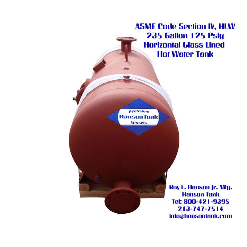 WJ-652-B 235 Gallon Horizontal Glass Lined Water Tank