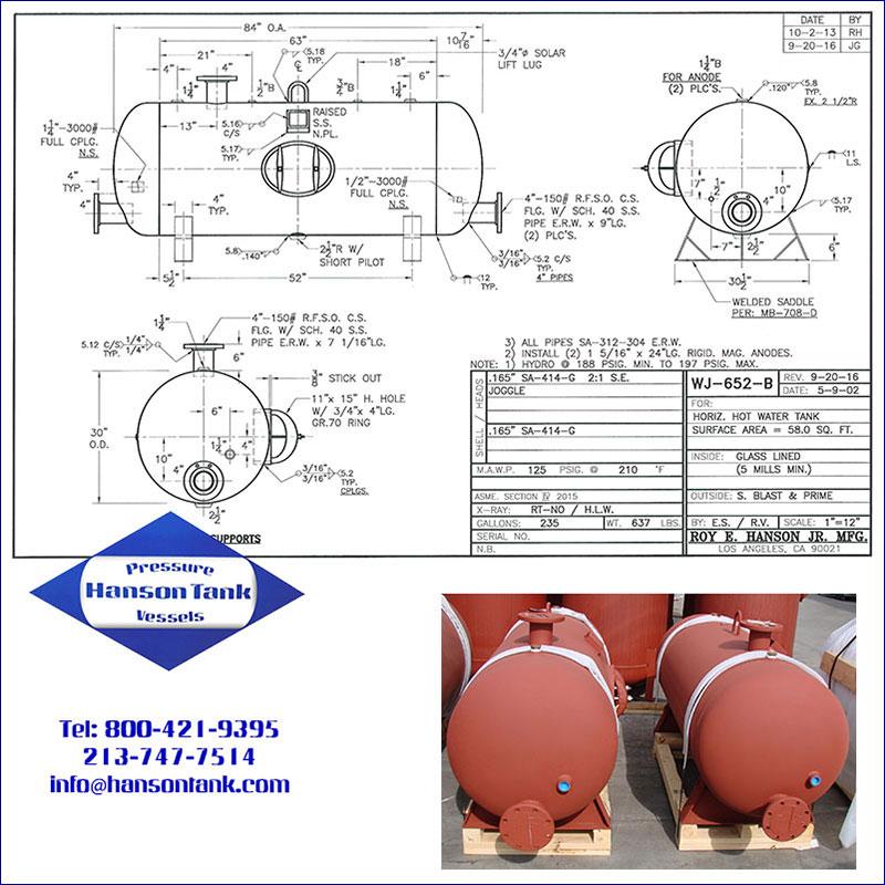 WJ-652-B 235 gallon horizontal glass lined hot water tank