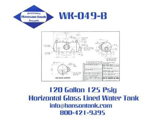 wk049b 120 gallon horizontal glass lined hot water tank