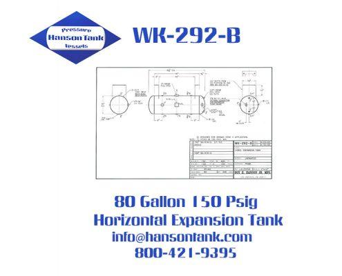 wk292b 80 gallon asme water tank