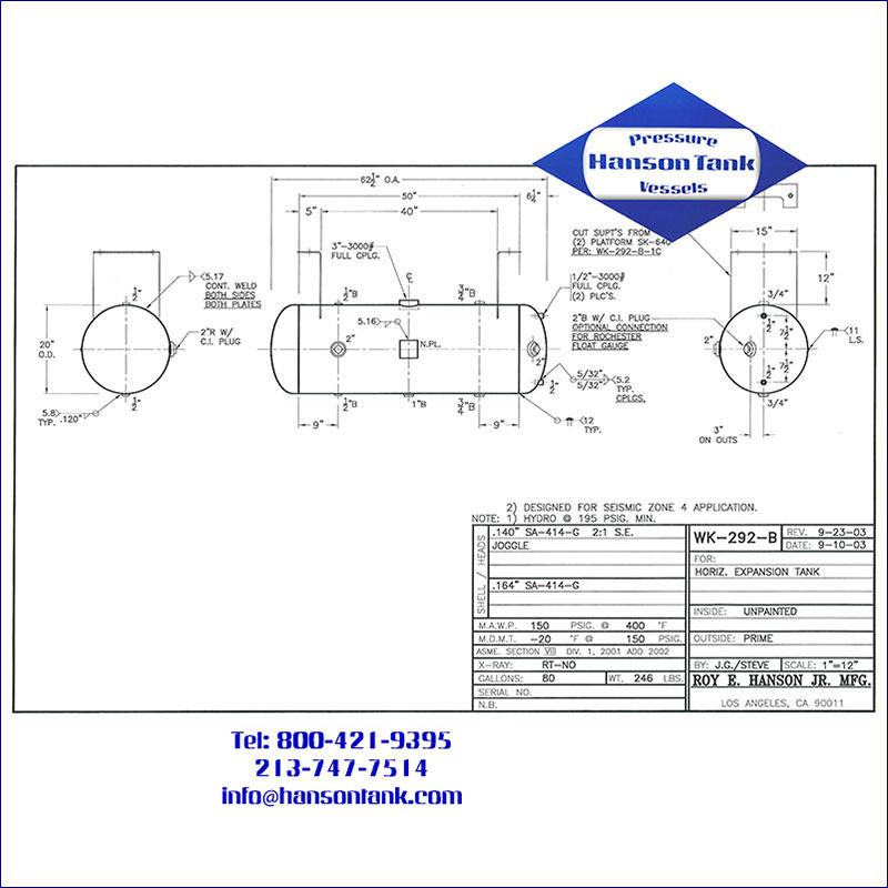 WK-292-B 80 gallon horizontal water expansion tank