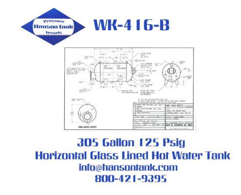 wk416b horizontal 305 gallon hot water tank