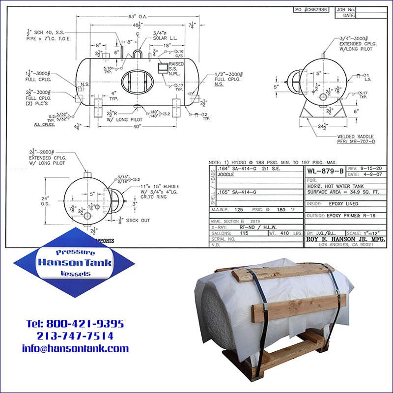 WL-879-B 115 gallon horizontal epoxy lined hot water tank