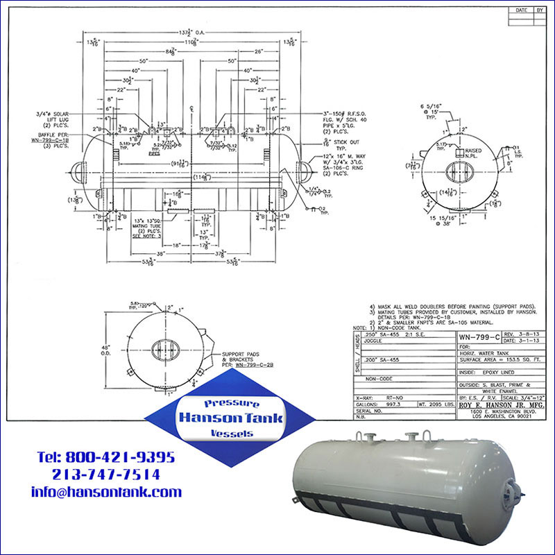 WN-799-C 1000 gallon horizontal epoxy lined water ballast tank