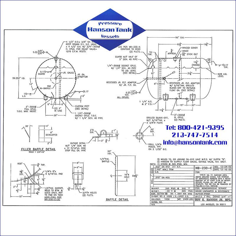 NB-230-C 1024 gallon horizontal anhydrous ammonia tank