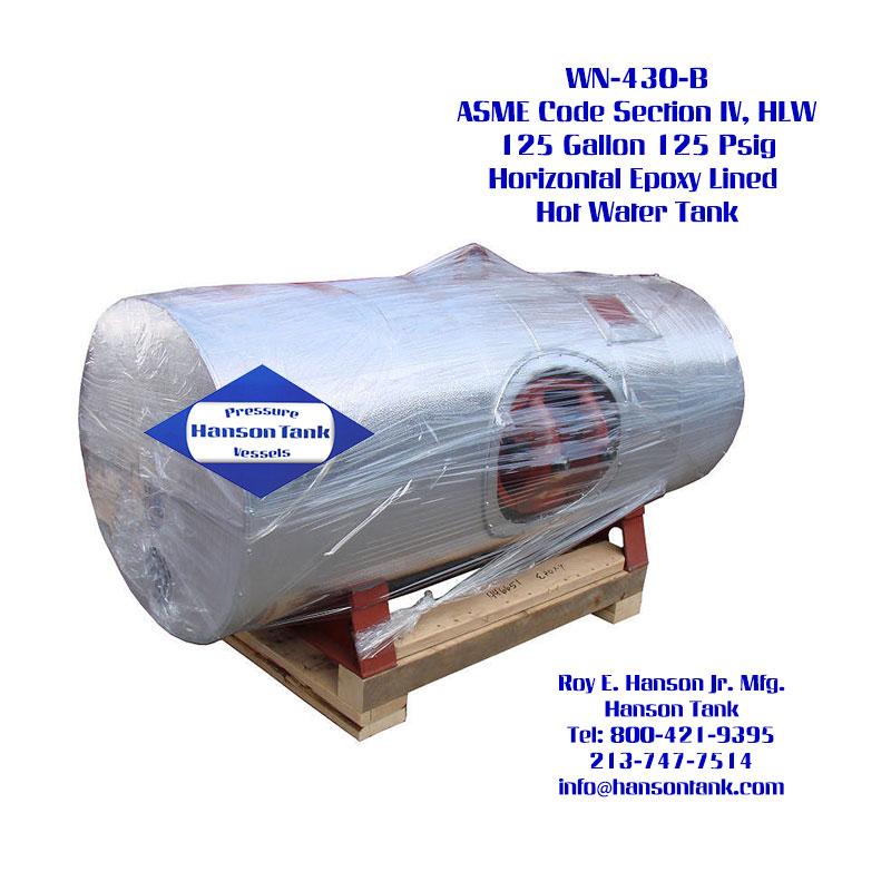 WN-430-B 125 Gallon Horizontal Custom Water Tank