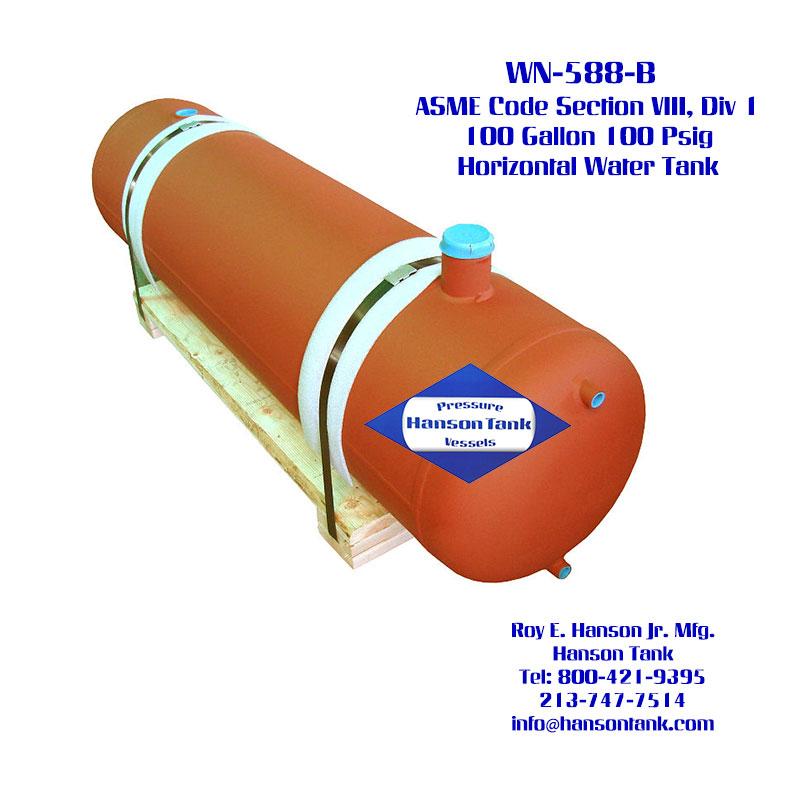 WN-588-B 100 Gallon Horizontal Custom Water Tank