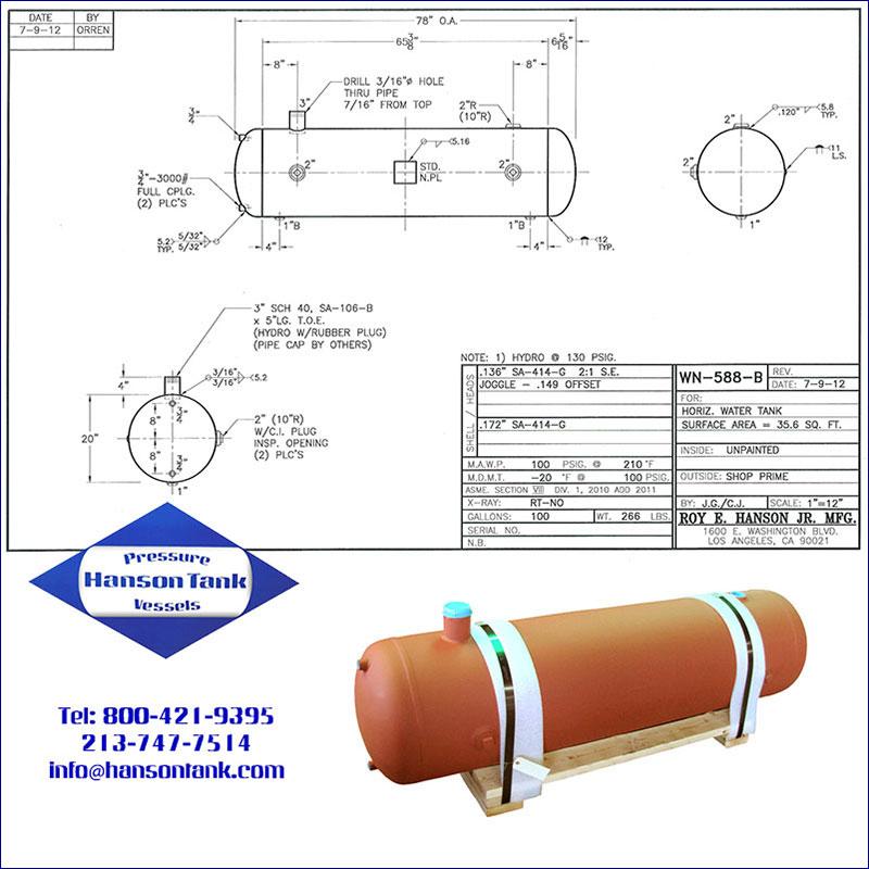 WN-588-B 100 gallon horizontal water tank