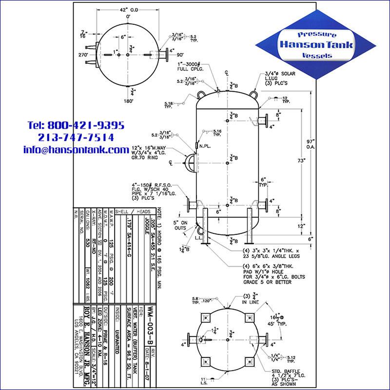 WM-003-B 530 gallon vertical hot water buffer tank