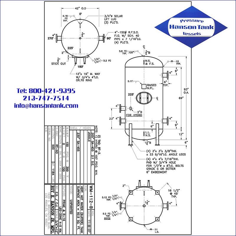 WM-112-B 500 gallon vertical hot water buffer tank