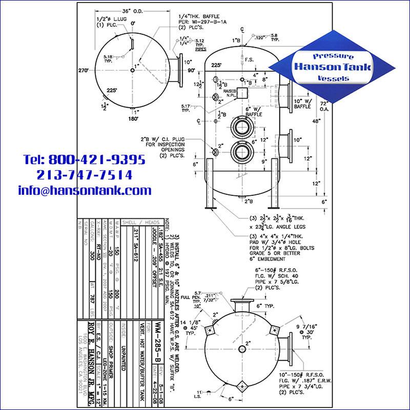 WM-285-B 300 gallon vertical hot water buffer tank