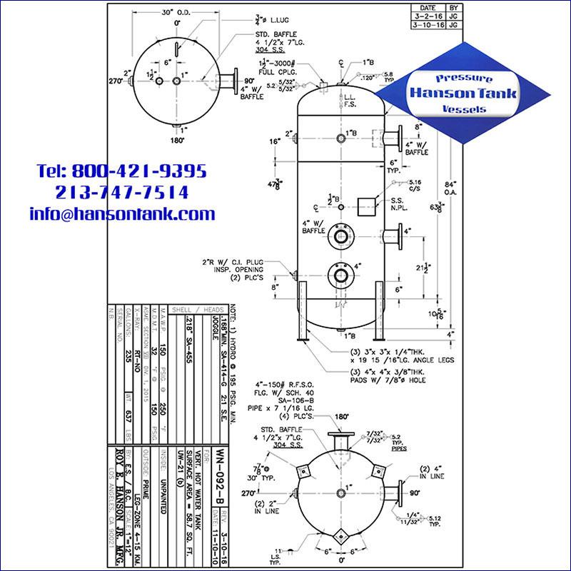 WN-092-B 235 gallon vertical hot water buffer tank