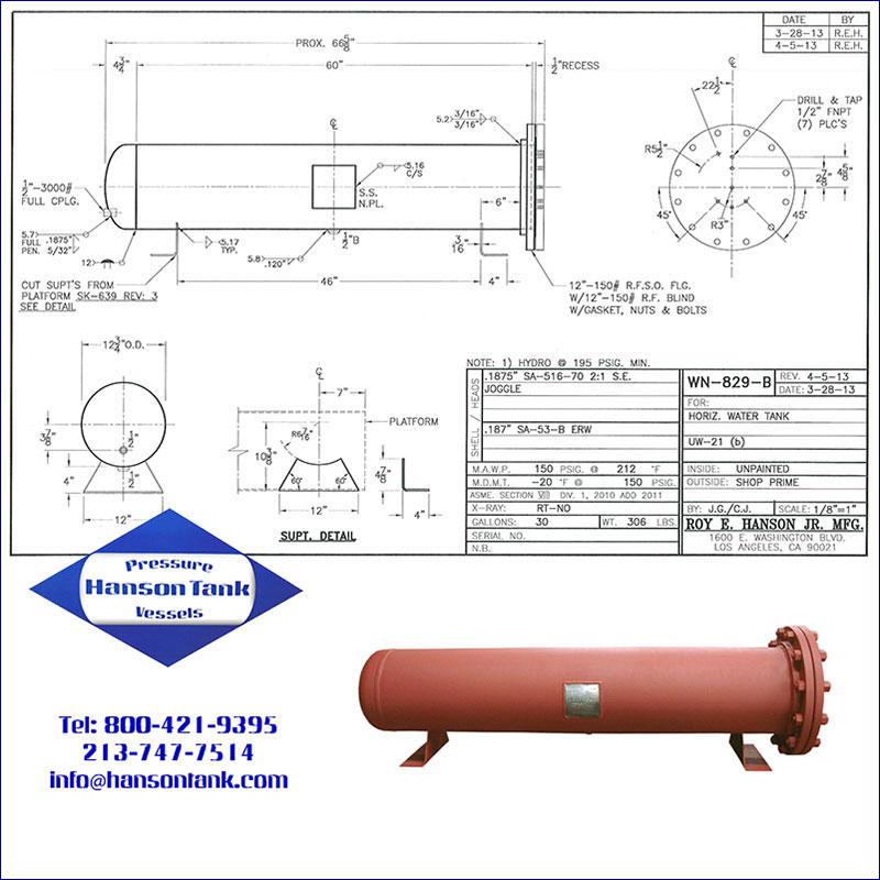 WN-829-B 30 gallon horizontal unlined water tank