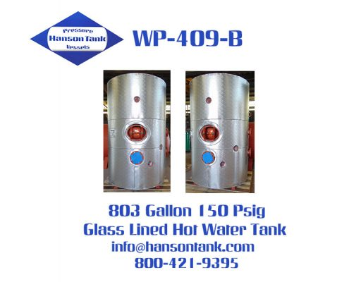 800 gallon glass lined hot water storage tank