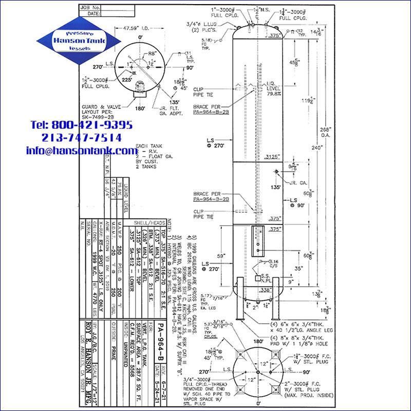 PA-964-B 1999 gallon vertical lpg tank
