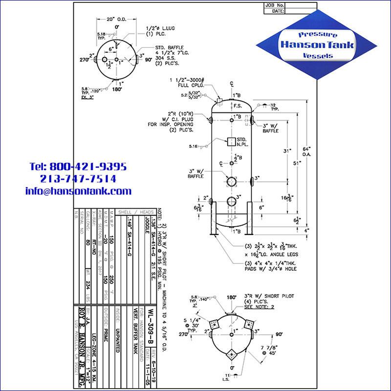 wl-309-b 80 gallon hot water buffer tank