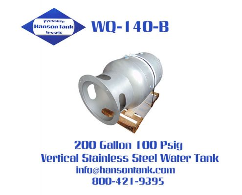 wq140b 200 gallon vertical stainless steel tank